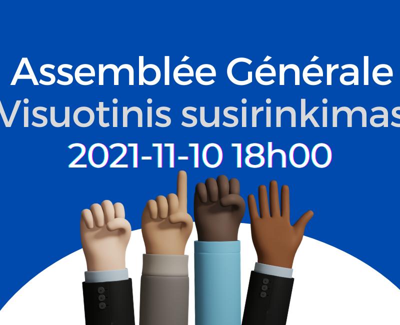 Convocation à l'Assemblée Générale EN LIGNE le mercredi 10 novembre à 18h00